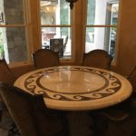$2500 Custom Marble Inlay 6 Person Dining Table